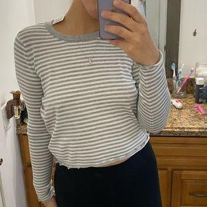 grey and white ruffle long sleeve